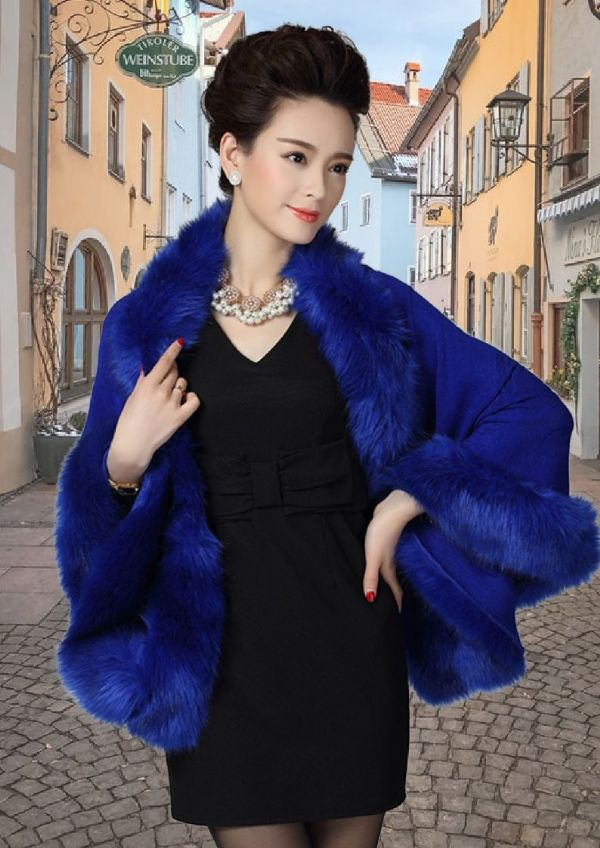 Faux Fur Poncho/Wrap - Royal Blue